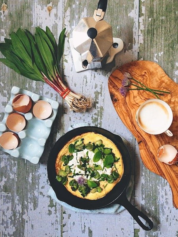 Open-faced omelette with herbs, ricotta cheese, mint and ramps at feedmedearly.com