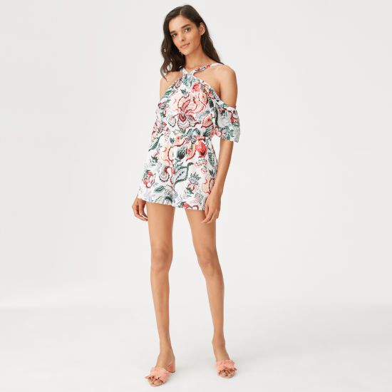 """Layered with ruffles in a tapestry-inspired floral silk, our Dacko evokes an easy, feminine sensibility that's perfect for summer days (and nights). Silk; lining: polyester  Straight fit 2½"""" in length, based on a size 6 Halter neck strap; ruffles at shoulders; elasticized waist; concealed back zip with hook-and-eye closure Lined Dry clean Imported"""
