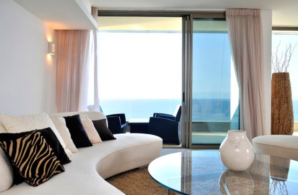 Lavish Contemporary Interiors With Unique Decor And Lovely Drapes That Hide Away The Sliding Glass Doors Sliding Glass Door Modern Curtains House Styles