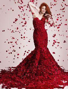 f96b54273e0 Joseph Massie Designed a Classic Red Rose Dress Made Out Of 1725 ...