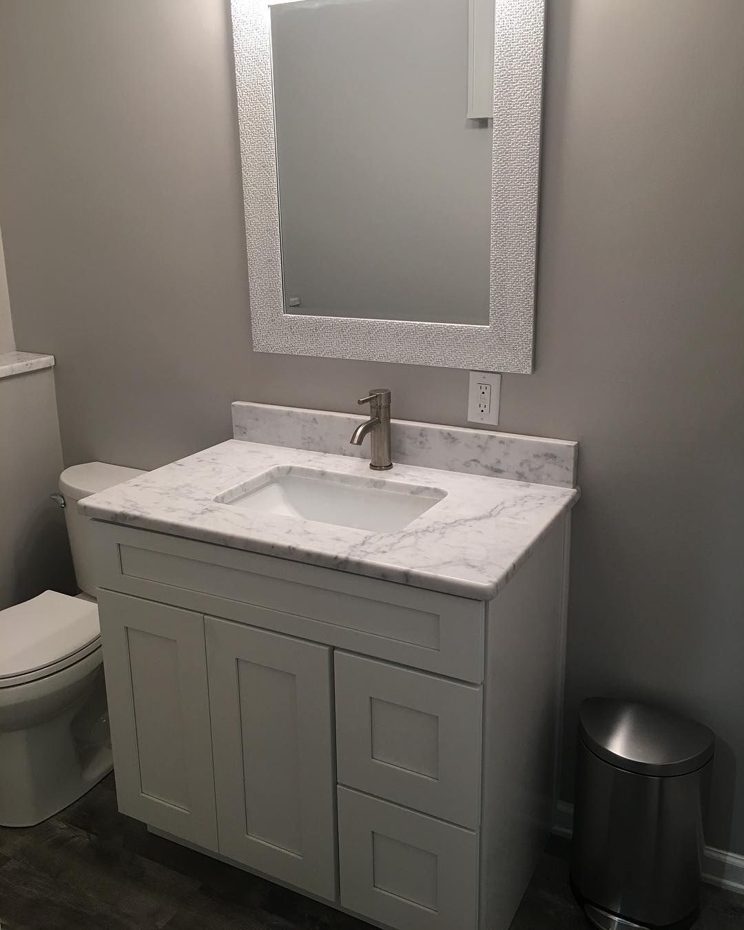 Simple White Shaker Vanity With Calacatta Marble Top Www Clecabinets Com Kitchen Design Showrooms Kitchen Design Software Kitchen Cabinets In Bathroom