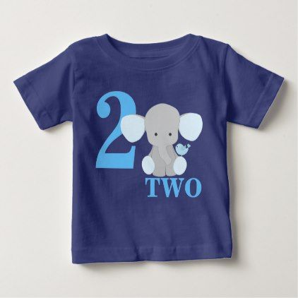 Elephant Blue First Second Third Year Birthday Boy Baby T Shirt