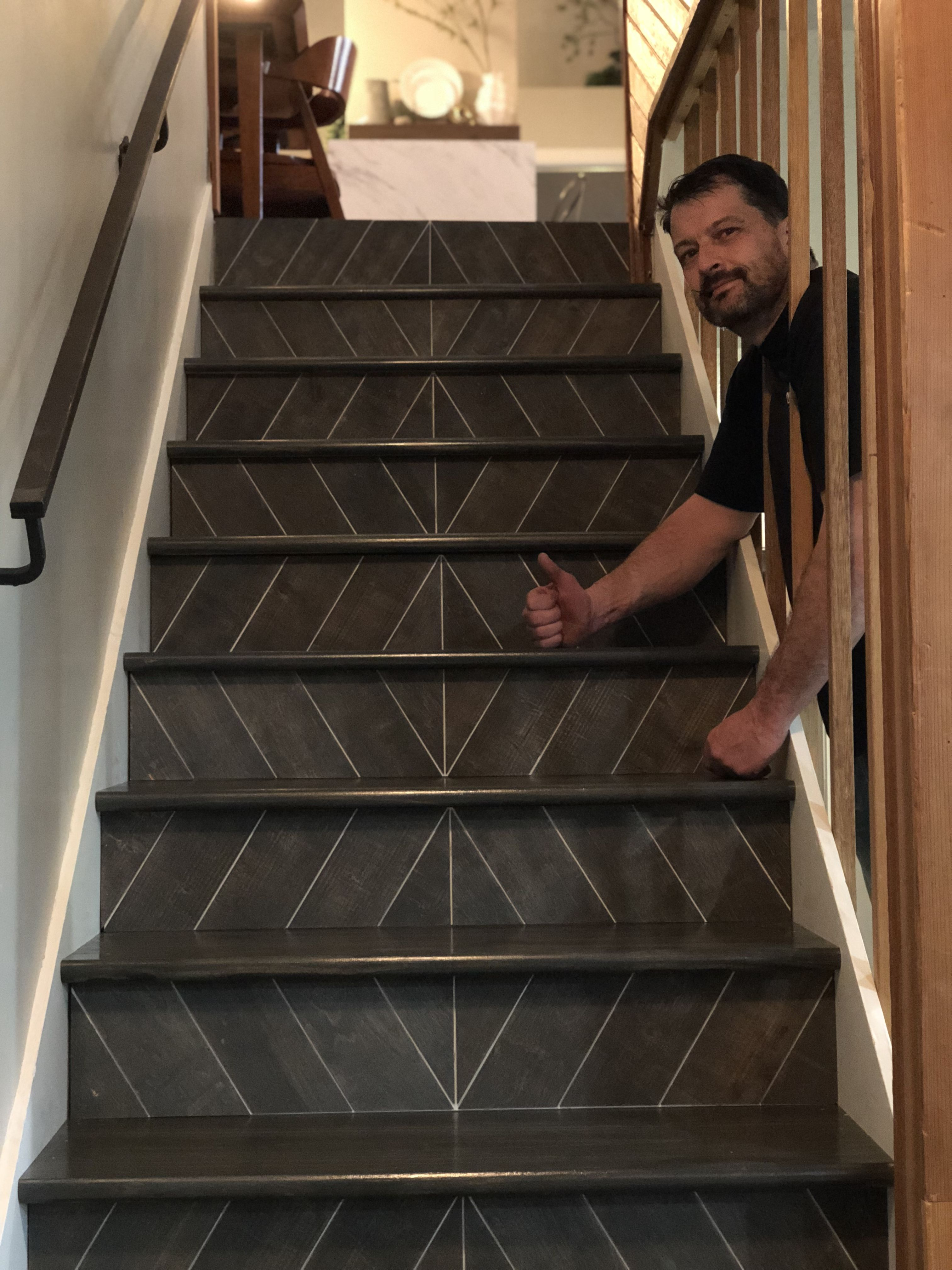 Best Stair Risers Stained Herringbone Pattern Stairs 400 x 300
