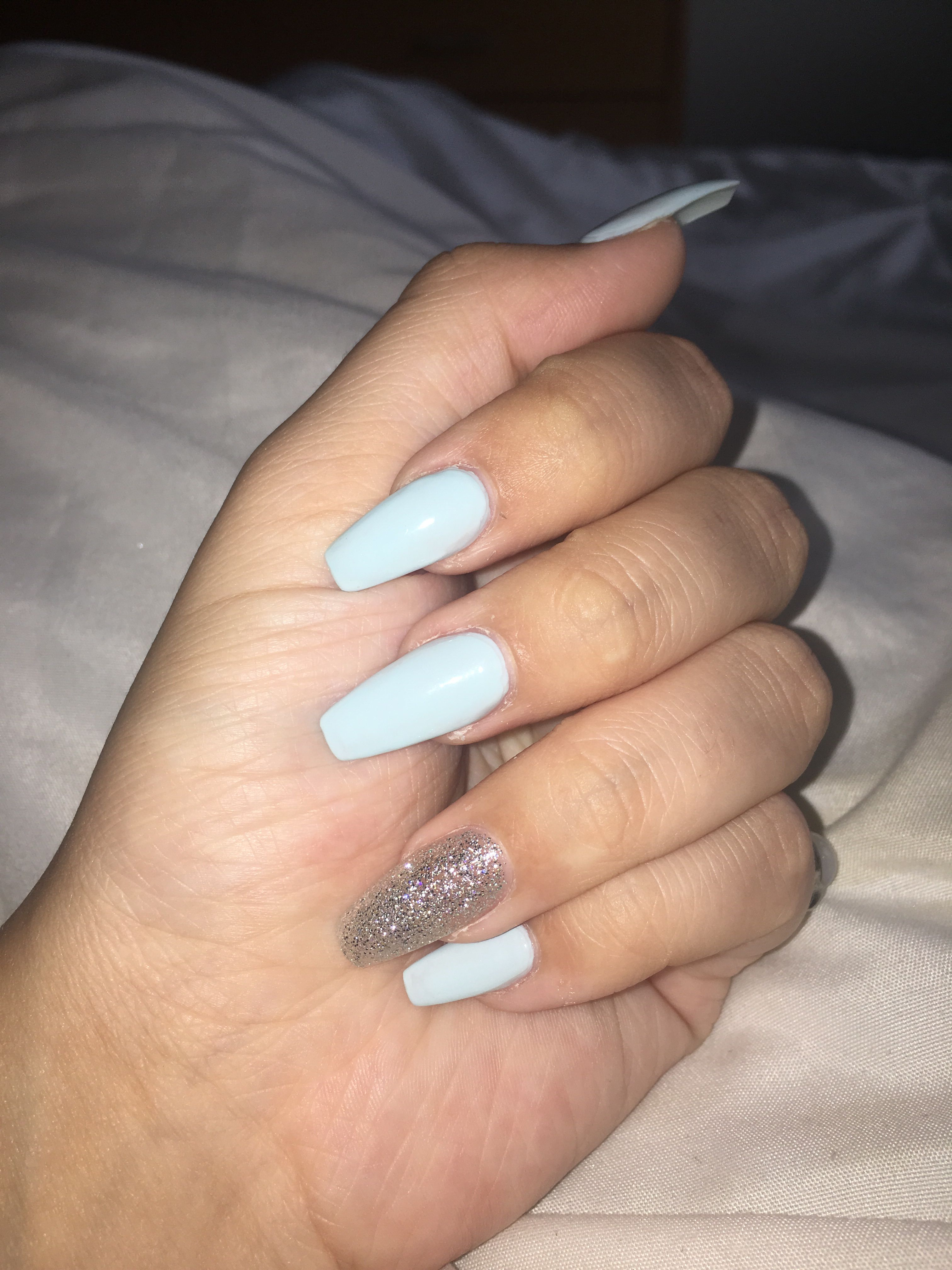Baby Blue Coffin Acrylics With Silver Accent Nail Baby Blue Acrylic Nails Prom Nails Silver Acrylic Nails Light Blue