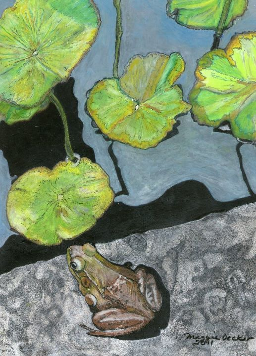 Frog on a Lily Pad by Maggie Decker