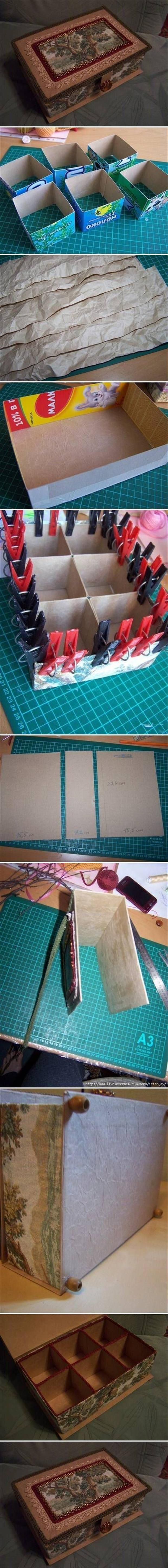 DIY Cardboard Organizer Box Diy Craft Crafts Easy Ideas Do It Yourself Tips Images