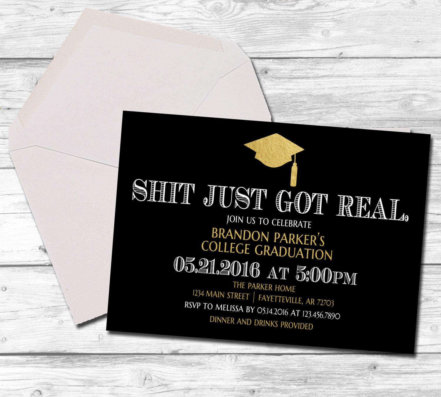 Graduation graduation invitation shit just got real black and graduation graduation invitation shit just got real black and gold college graduation high school funny invitation printable 5x7 filmwisefo Image collections