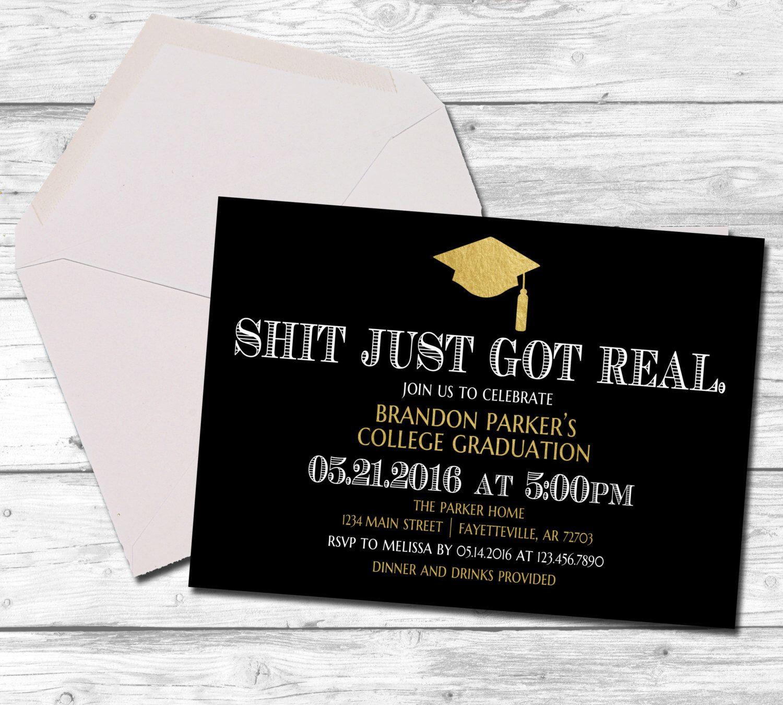 Graduation, Graduation Invitation, Shit Just Got Real, Black and ...