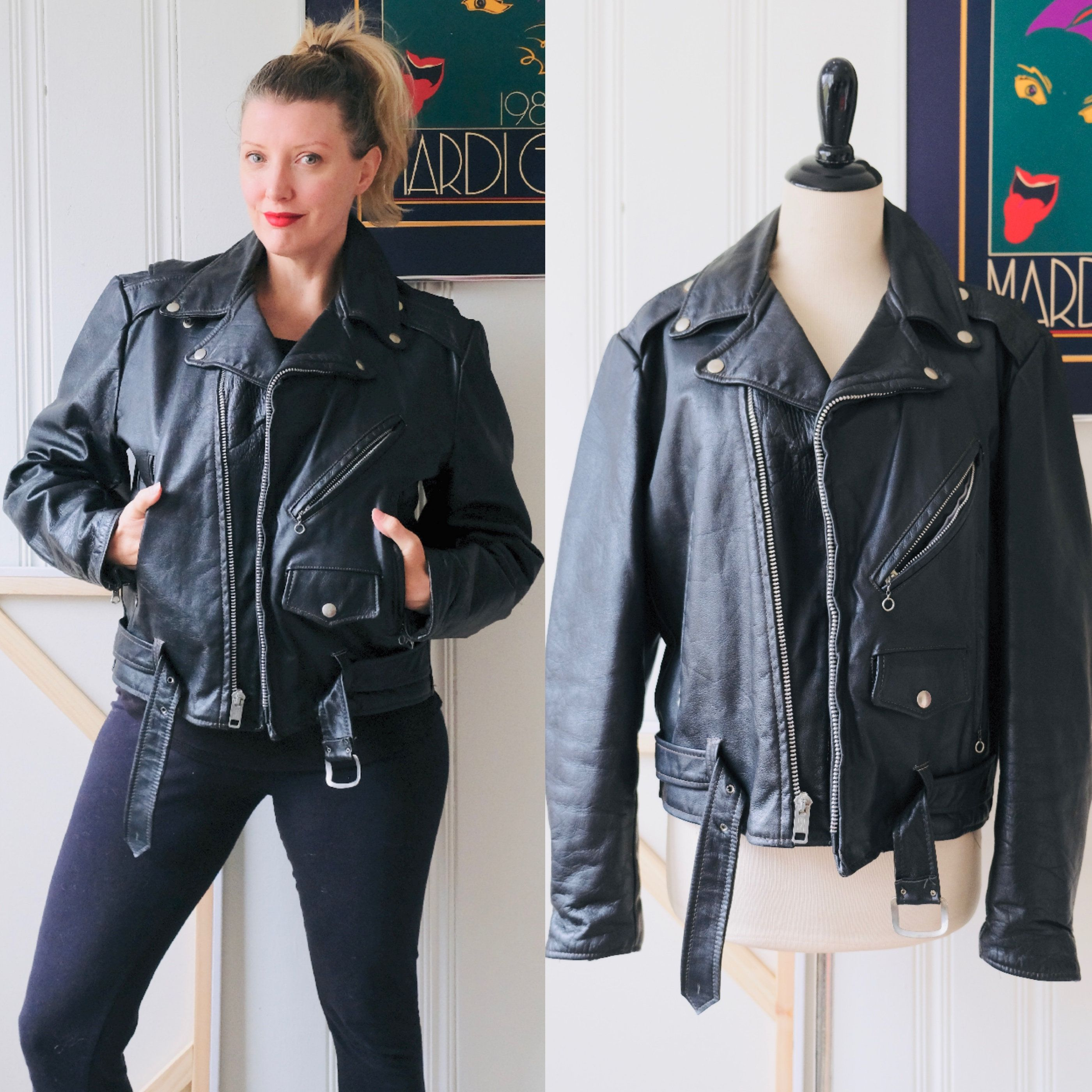 Just Listed 70s Vintage Excelled Black Leather Biker Jacket Mens 42 Womens 12 Https Etsy Me 2x2ppcp Cl Black Leather Biker Jacket Vintage Wear Biker Jacket