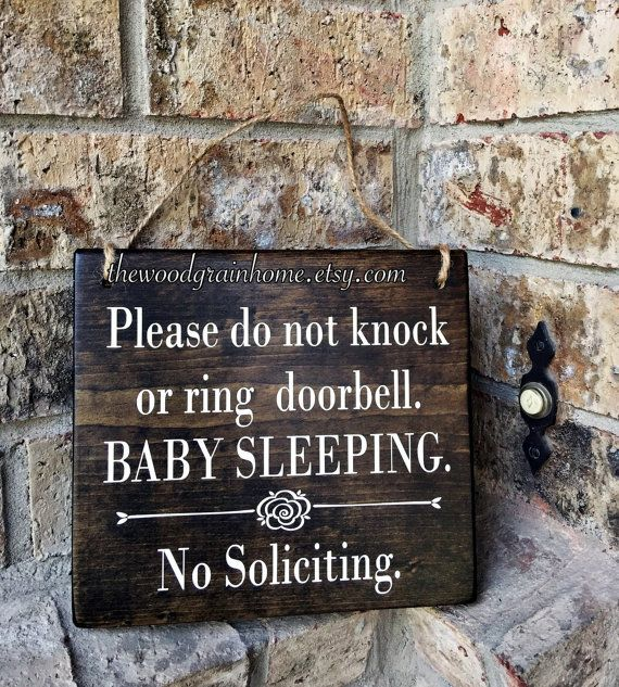 Baby Sleeping Sign 7x8 No Soliciting Sleeping Baby Sign Do