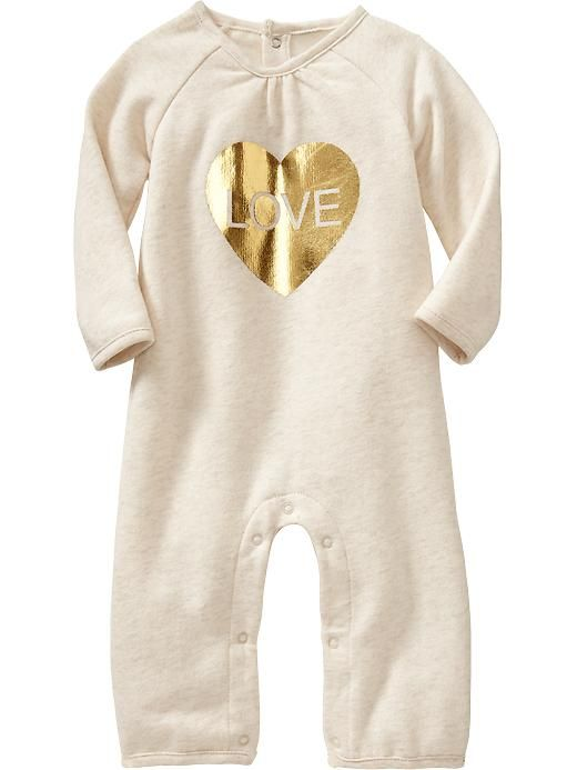Old Navy | Graphic Fleece One-Pieces for Baby | Gold Heart Love