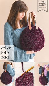 Photo of Crochet the velvet tote bag with easy circular construction, sturdy leather hand…