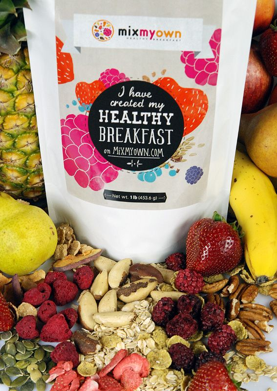 MixMyOwn Breakfast Cereal Giveaway! | Click on photo & leave comment on blog & be entered to win 2, 12-ounce mixes! | Healthy ingredients, you choose them! | NutritionTwins.com