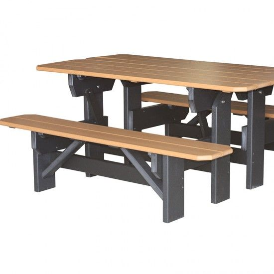 Amish Made Double Garden Bench Table Set Mobler