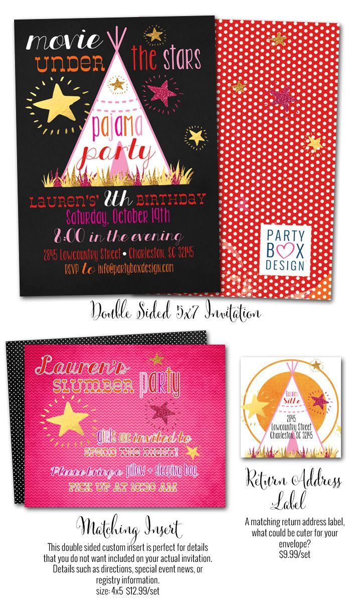 PJ Movie Night, pj movie night invitations, movie night invites ...