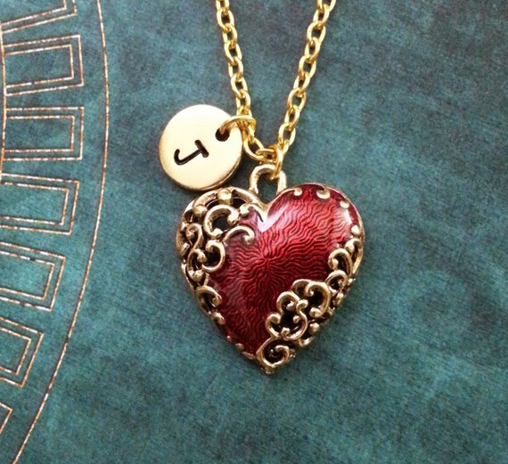 e235da6a3 Red Heart Necklace Gold Heart Charm Necklace Personalized Jewelry Filigree  Heart Jewelry Valentine's