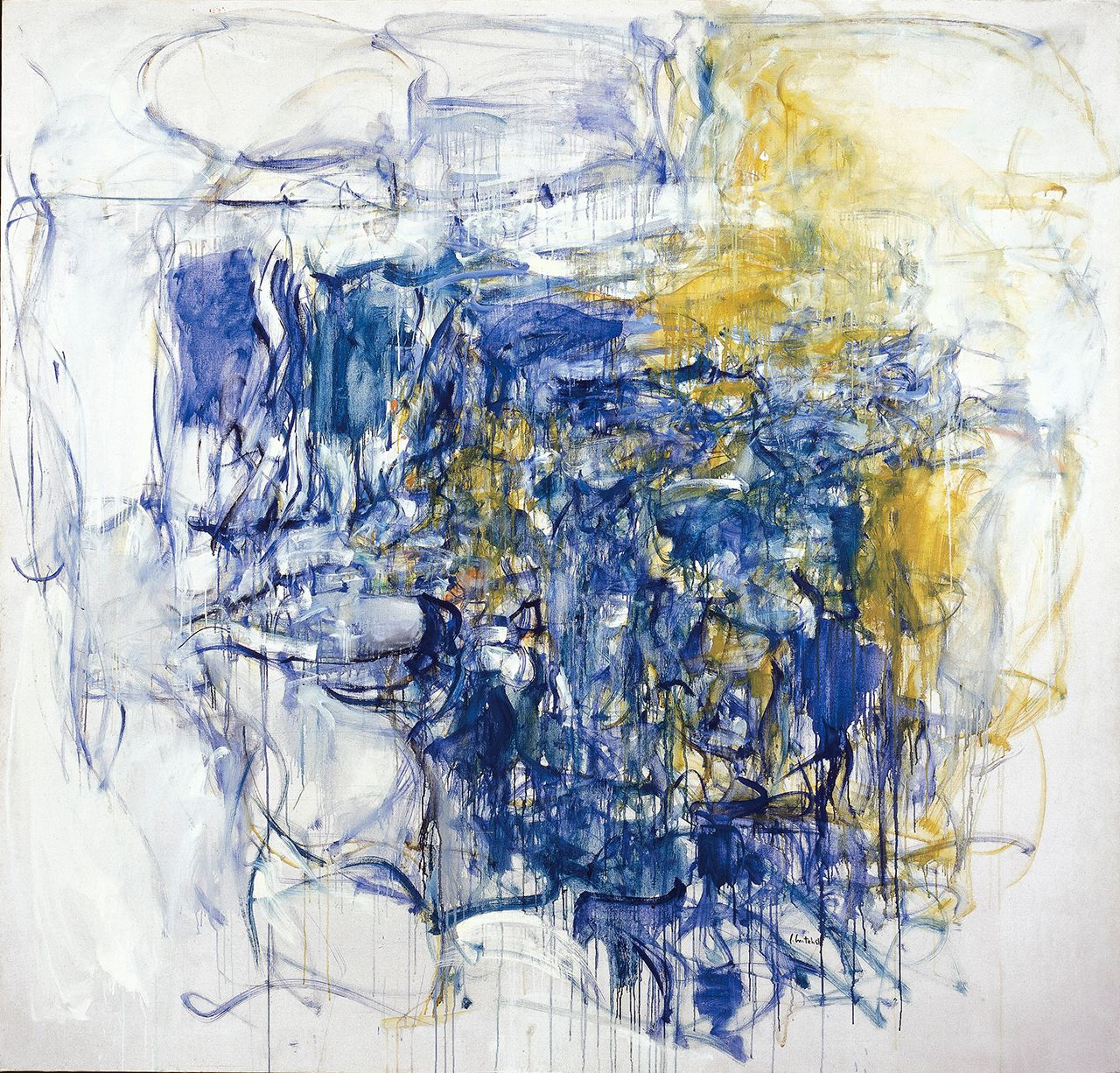 """Joan Mitchell, """"Hudson River Day Line"""" (1955), oil paint on canvas, 79 x 83 in, Collection of the McNay Art Museum, Museum: purchase with funds from the Tobin Foundation (image © Estate of Joan Mitchell)"""