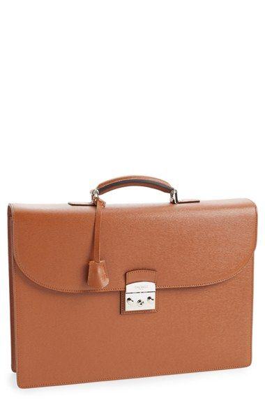 6734cc4710 Men's Canali Saffiano Leather Briefcase - Brown | Products | Leather ...