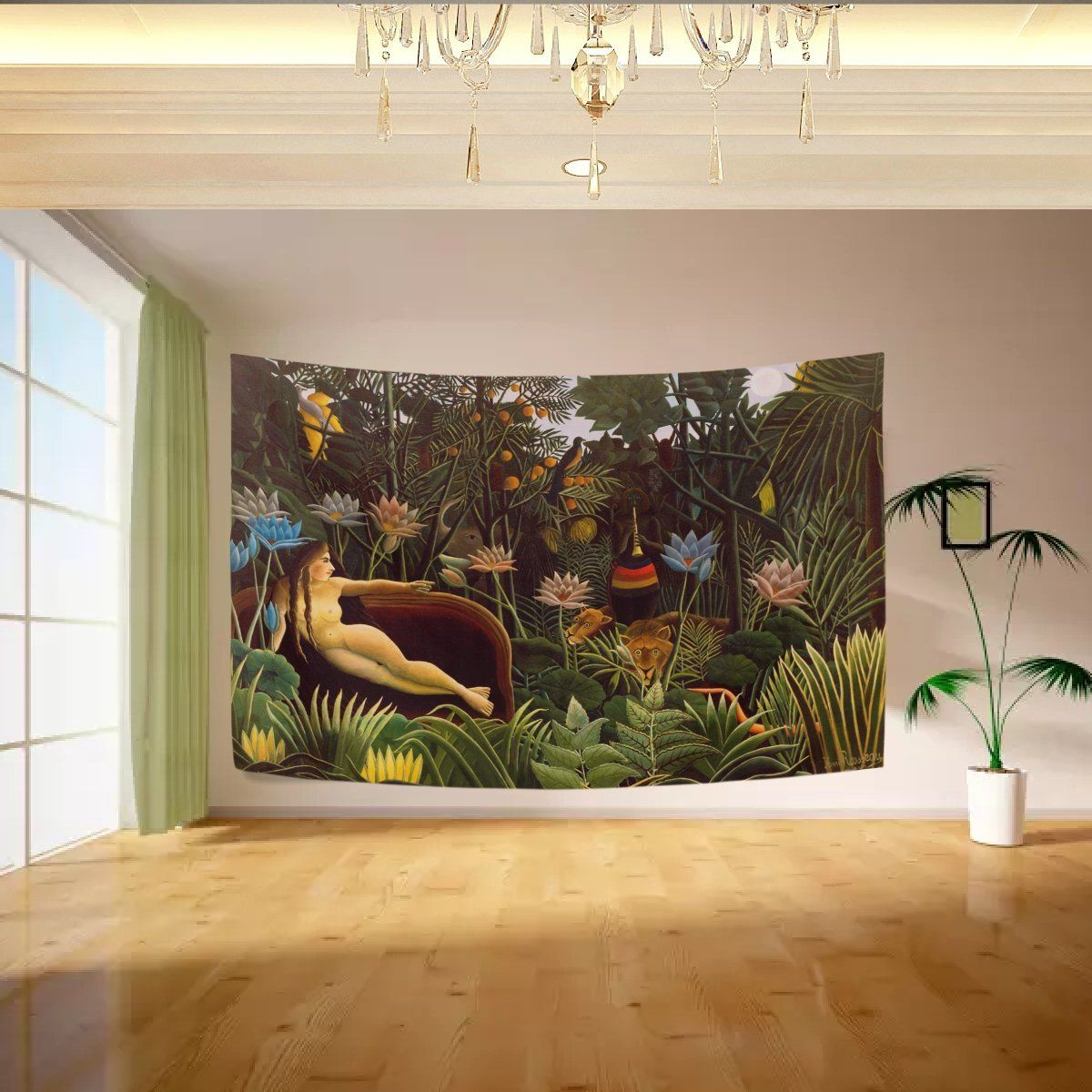 Vipsk dream by henri rousseau tapestry wall hanging artistic light