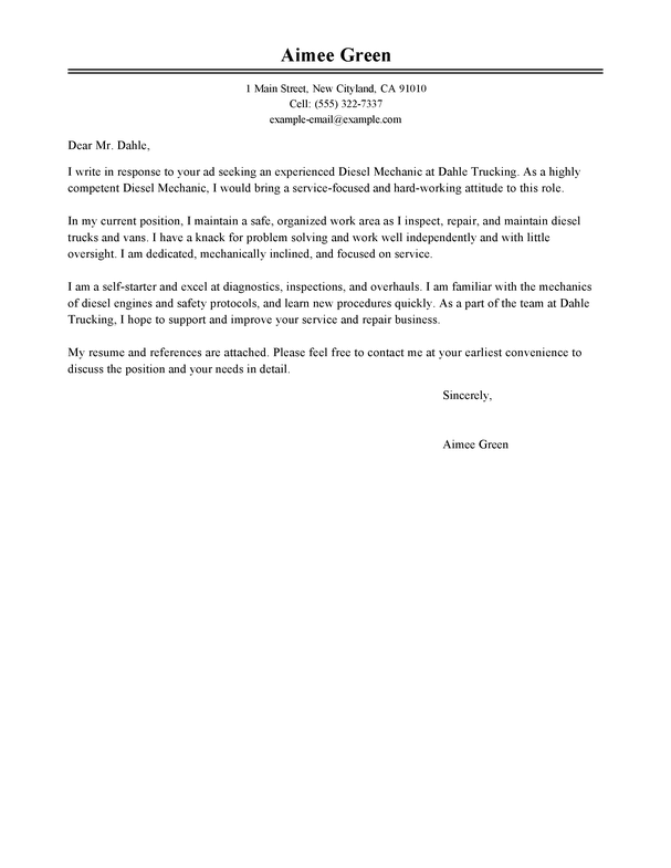 Reference Letter Template Mechanic