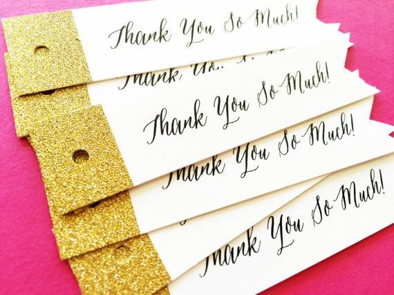 Gold Glitter Wedding Favor Tags by LittleSparkCreations on Etsy
