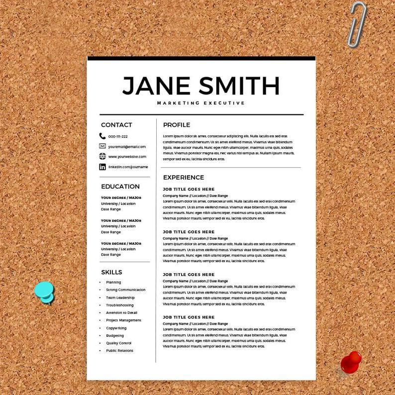 Resume For Microsoft Word Minimal Resume Template Cv Template Cover Letter For Ms Word Best Resume Templates Instant Download In 2020 Best Resume Template Minimal Resume Resume Template