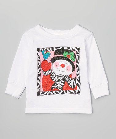 Loving this White Zebra Snowman Tee - Infant, Toddler & Girls on #zulily! #zulilyfinds