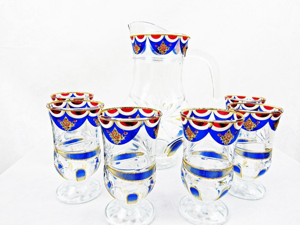 7pc. Decorative Beverage Glass & Pitcher Set Red Blue & Gold Embellishments NICE #Unknown