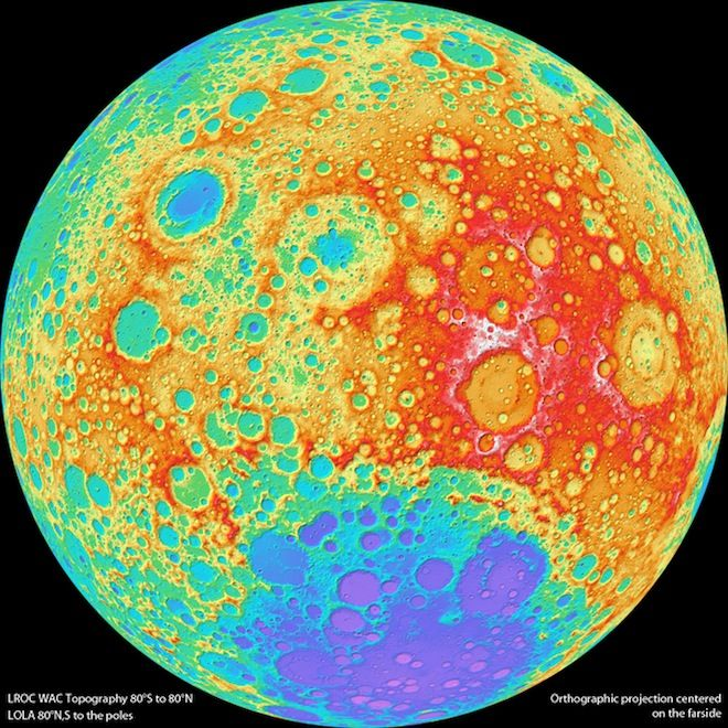 • THE MOON • HIGH RESOLUTION TOPOGRAPHICAL MAP • Astronomers at Arizona State University have used NASA's Lunar Reconnaissance Orbiter to build this jaw-dropping map • It's the highest-resolution, near-global topographic image of our lunar neighbour yet • The map reveals the Moon's surface shape : the colours represent the elevations of the craters, miniature mountains and ridges • White parts are highest, down through red, orange, green, blue and violet, which represents the deepest pits •