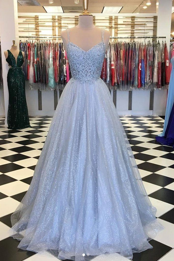 Sweetheart Neck Backless Gray Lace Tulle Floor Length Senior Prom Dress, Evening Dress #bluepromdresses