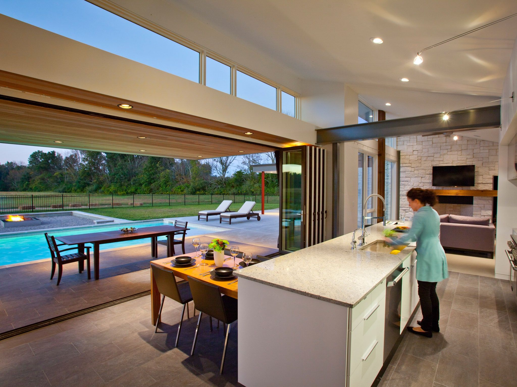 Image Result For Modern Open Plan Kitchen With Bifold Doors Modern Kitchen Open Plan Lake House Bathroom Kitchen Design Modern Contemporary