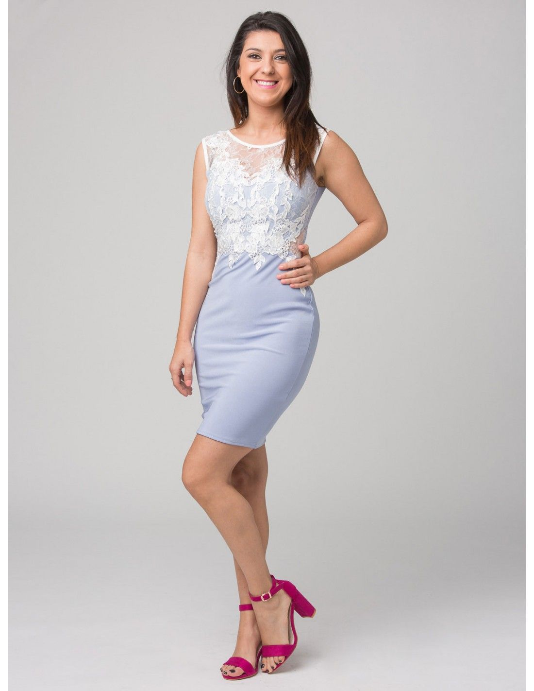 Vestido Gabi  Lipsy London - Vestido elástico de tubo en color celeste.  Detalle de cc9308b09d7a