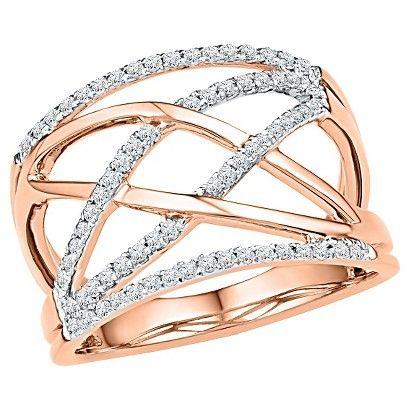 Women's 1/3 CT.T.W Round Diamond Prong Set Fashion Ring in 10K Rose Gold (IJ-I2-I3)