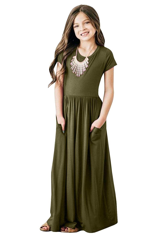 Girls short sleeve maxi dress empire waist plain pleated