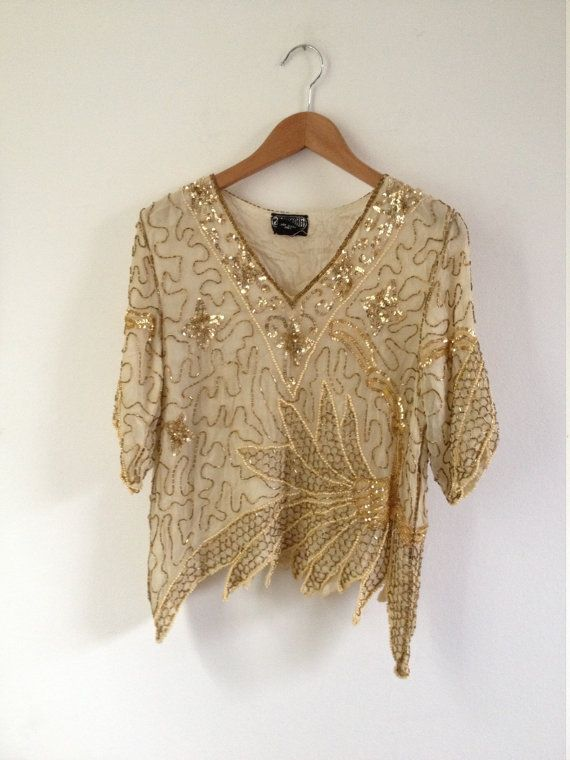 112580c752cb4 Vintage Sequined Top. Sequined Blouse. Sequin Embellished Shell Top ...