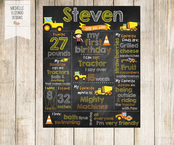 Printable Birthday Facts ~ Construction first birthday poster 16x20 printable poster