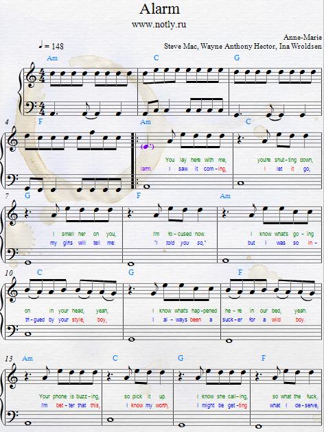 Anne Marie Alarm Download Pdf Piano Sheet Music Piano Sheets