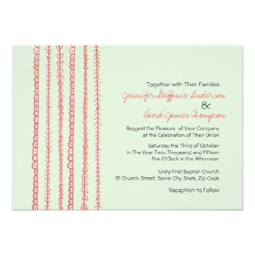 Coral and Mint Fun Doodles Wedding Invitations