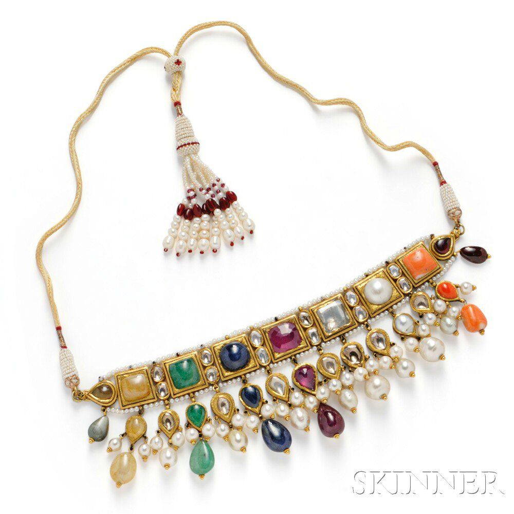 Gemset necklace india set with foilback emerald sapphire ruby