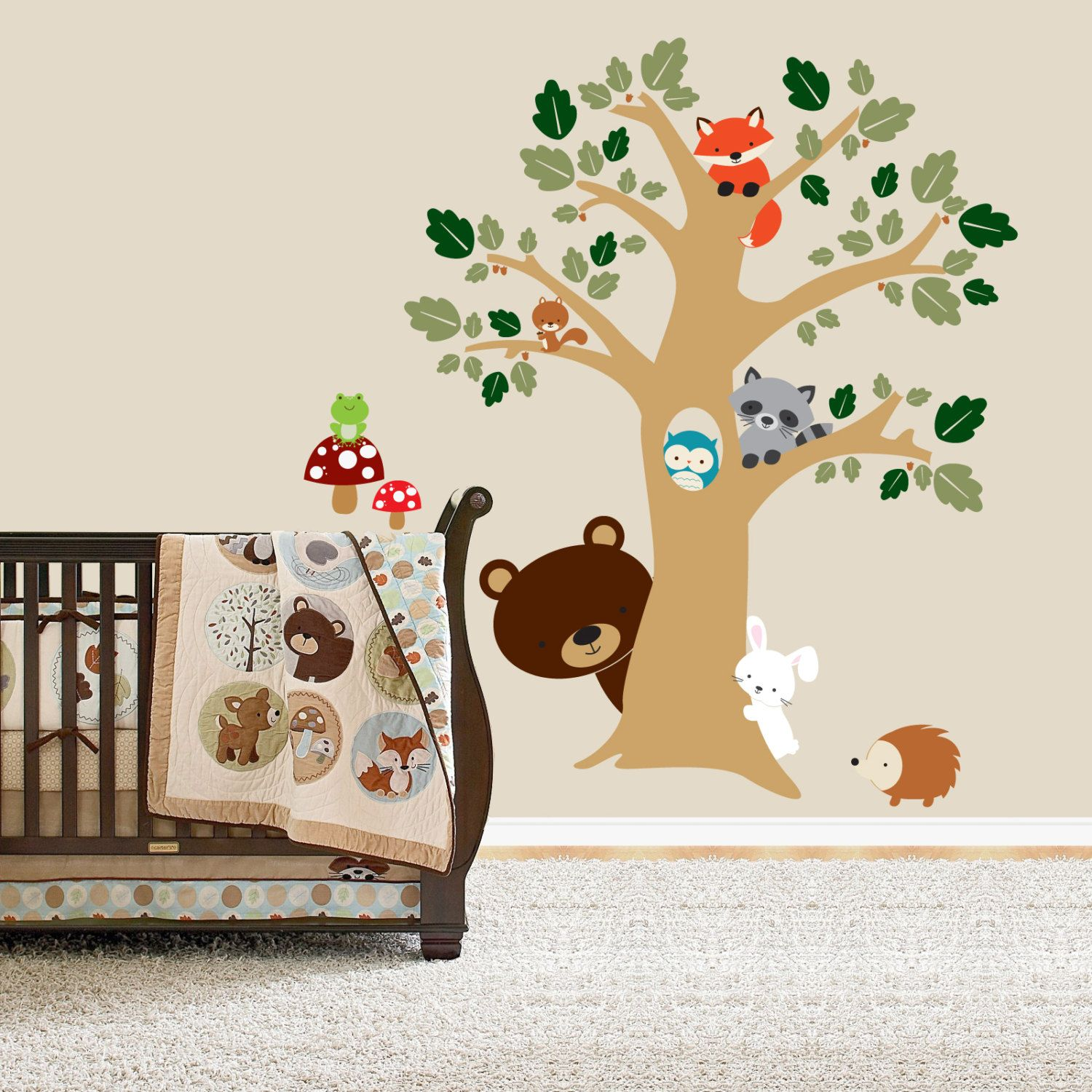Forest Friends Room Peek A Boo Tree Woodland Animals Decal - Vinyl wall decals animals