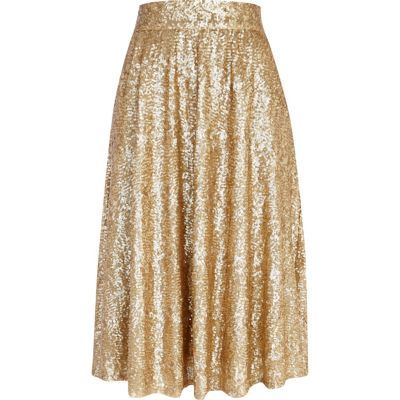 Gold sequin midi skirt... A must for spring!