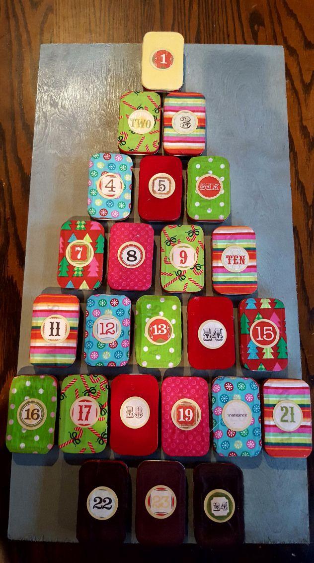 Altoid Tin Advent Calendar shadow boxes and altered tins