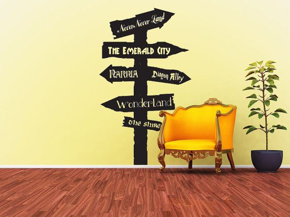 Road Sign Wall Decor Glamorous Fantasy Road Sign Wall Vinyl Largewallsoftext On Etsy $3795 Inspiration Design