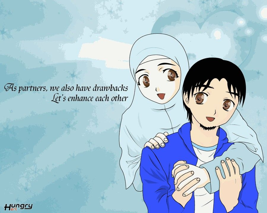 Anime Muslim Couple Cute In Hijab Wallpapers Islamic Art Quotes