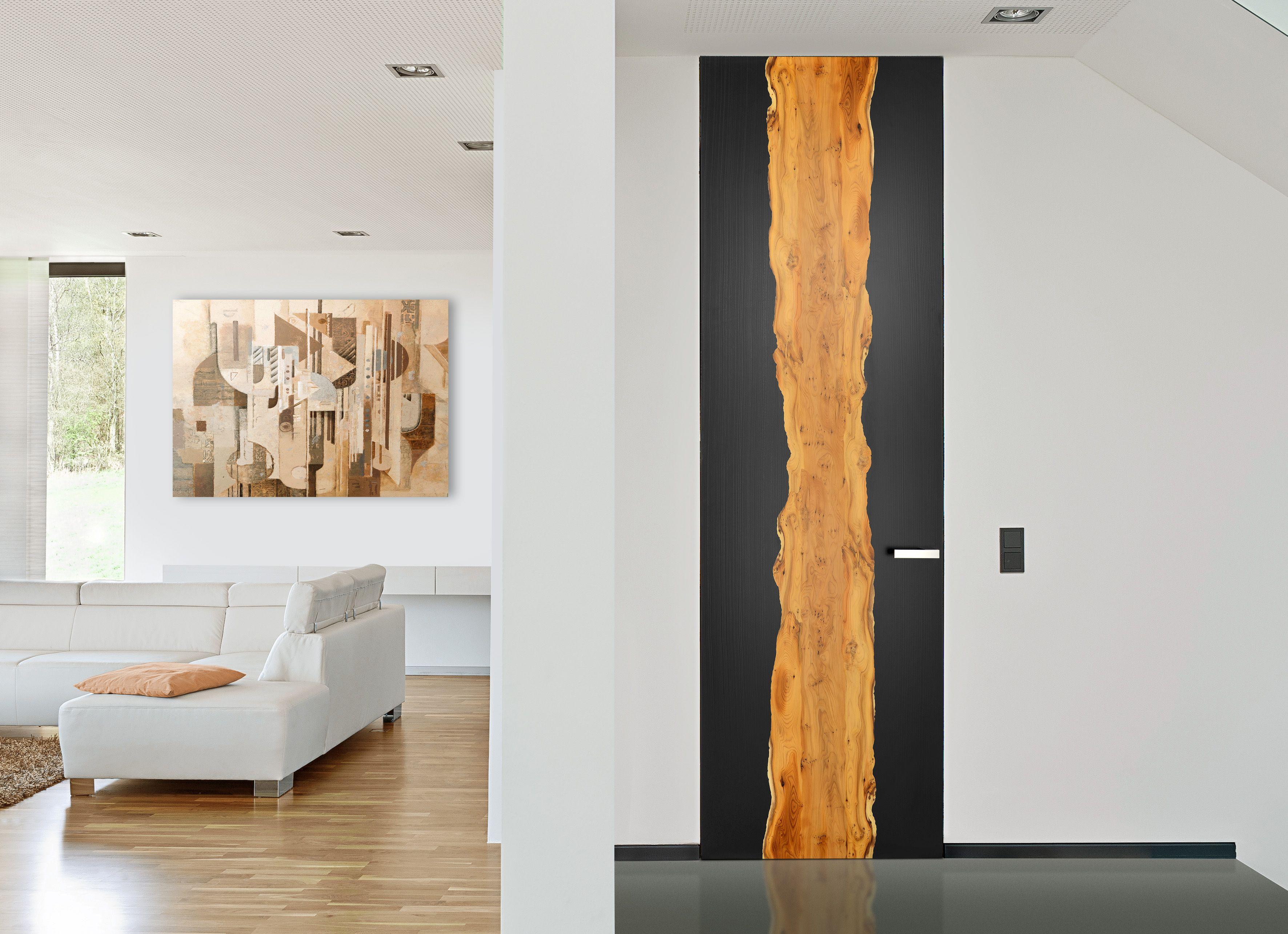 Rahmenlose, raumhohe Tür mit Strichlack und Eibe | Rahmenlose Türen ...