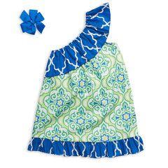 Blue Lime Floral Geo One Shoulder Dress