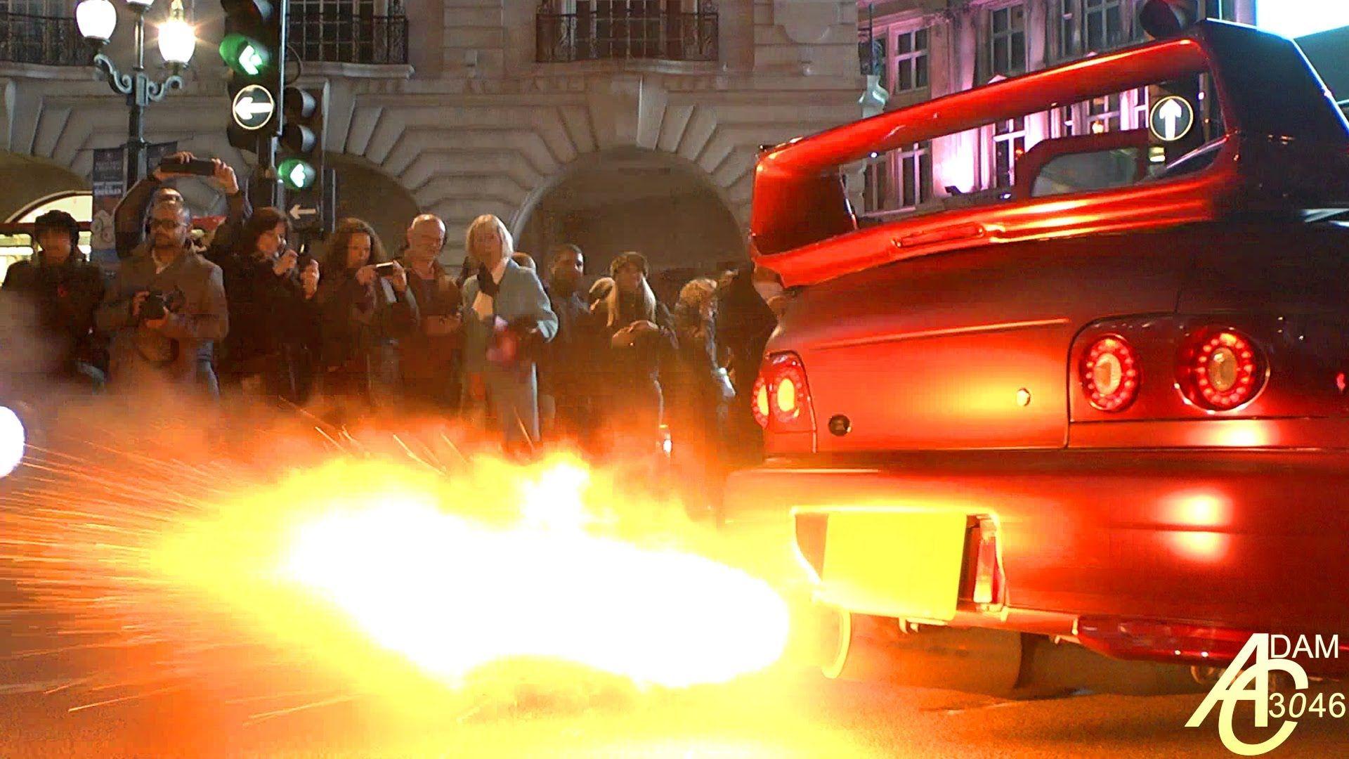 INSANE FLAMES shot by Subaru Impreza!