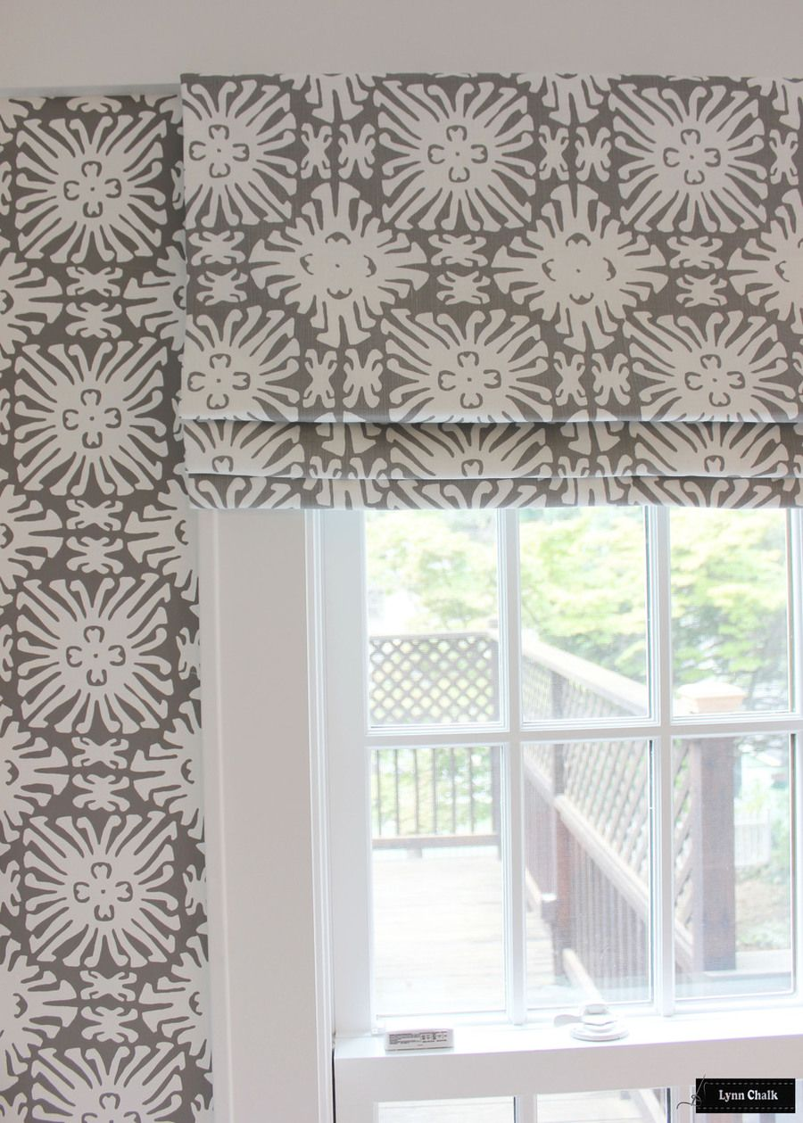 Quadrille Sigourney Reverse Grey On White Small Scale Wallpaper And Mathcing Roman Shade
