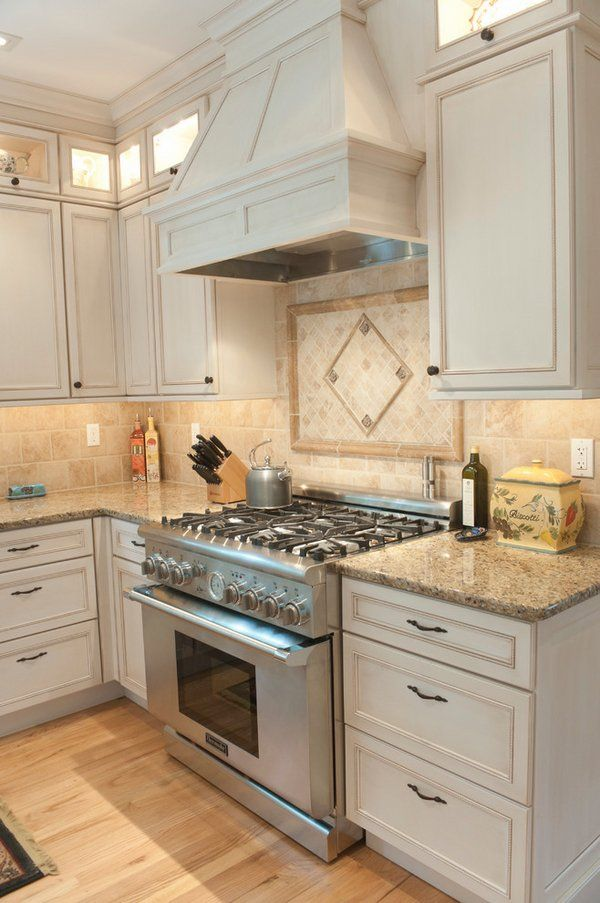 Granite New Venetian Gold White Cabinets Stainless Steel Gas Oven