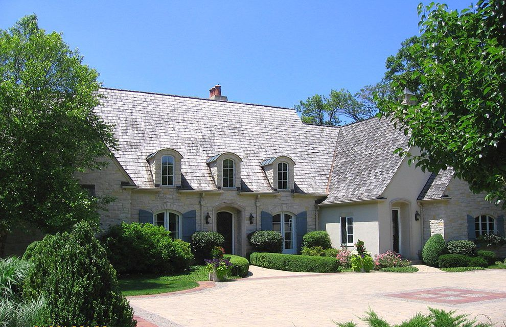 Stucco french country brick exterior traditional with shingled